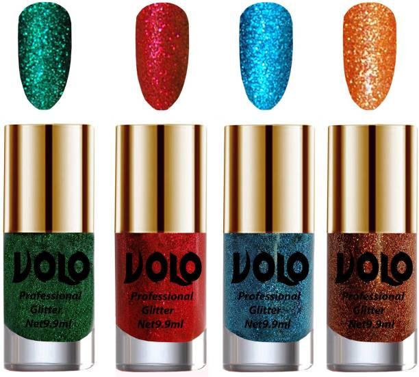 Volo Professionally Used Glitter Shine Nail Polish Combo Pack of 4 Combo-No-306 Dark Green Glitter, Light Orange Glitter, Red Glitter, Sky Blue Glitter
