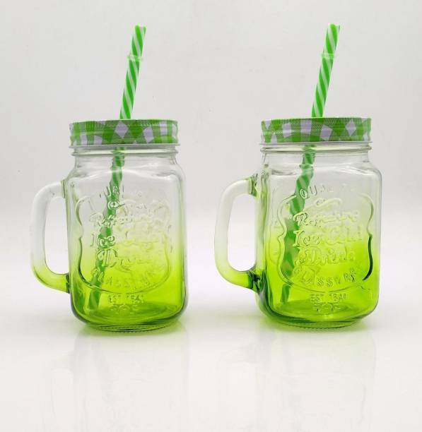 Satyam Kraft Glass With Hole Shaded Mason Jar(Pack of 2) with Lid and