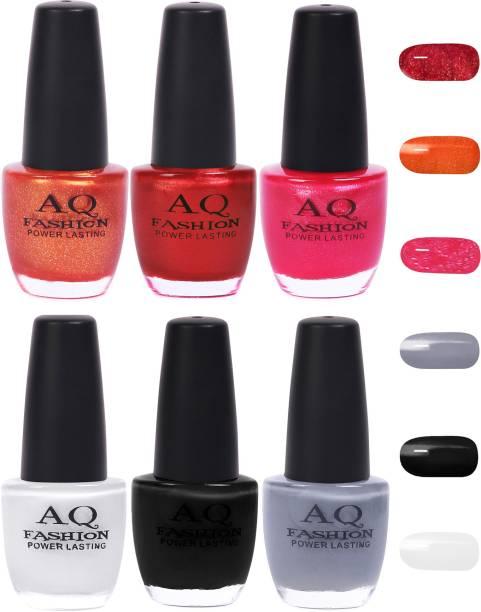 AQ FASHION Funky Vibrant Range of Colors Nail polish Shimmer Orange,Red,Bright Magenta,White,Black,Grey