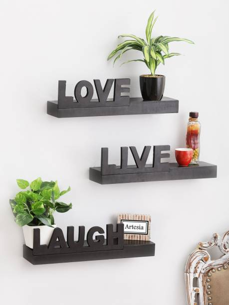 Artesia Wall Mount Set of 3 Love Live Laugh Wooden Wall Shelf