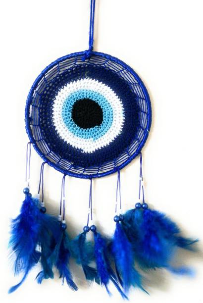Varanasi Enterprises Evil Eye Dream Catcher Wall Hanging Wool Dream Catcher