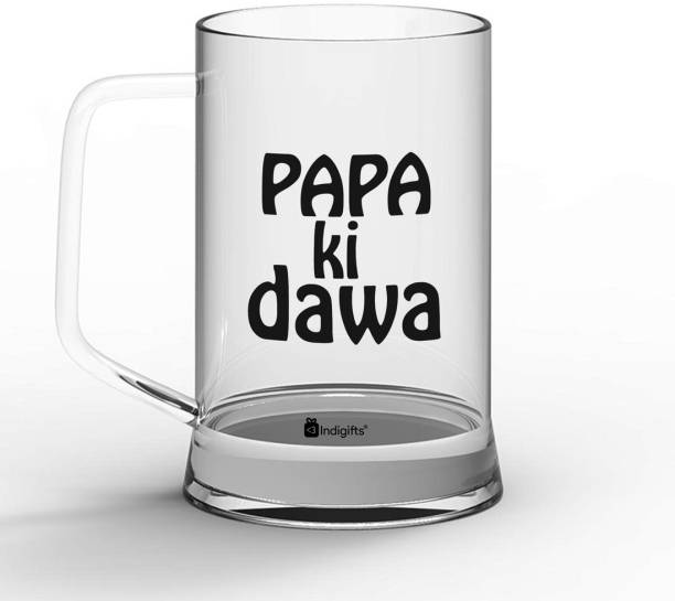 Indigifts Fathers Day Gifts, Dad Gift, Fathers Birthday Gift, Gift for Papa, Gifts for Parents Papa ki Dawa Quote Glass