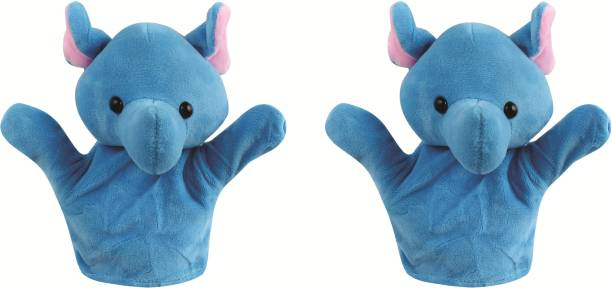 Skylofts Elephant Animal Soft Toy Hand Puppets for Kids , Multi Color (Pack of 2) Finger Puppets