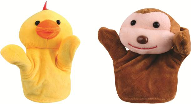 Skylofts Monkey & Duck Animal Hand Puppets Soft Toys for Kids , Multi Color (Pack of 2) Hand Puppets