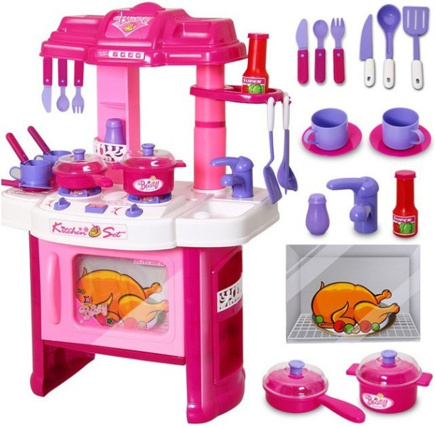 Elektra Luxury Battery Operated Kitchen Play Set Pretend Play Set For Kids  With Roll Play Kitchen