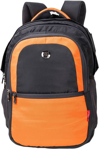 Cosmus New Castle Light Weight Large School Bag Grey   Orange Polyester 36  Litre Backpack with de15b1d9b