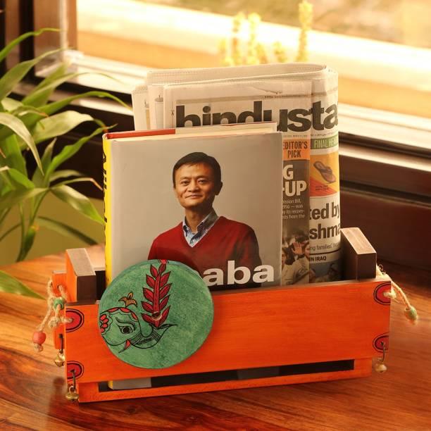 ExclusiveLane Madhubani Hand-Painted Home Decorative Newspaper Stand Cum Table Top Magazine Holder