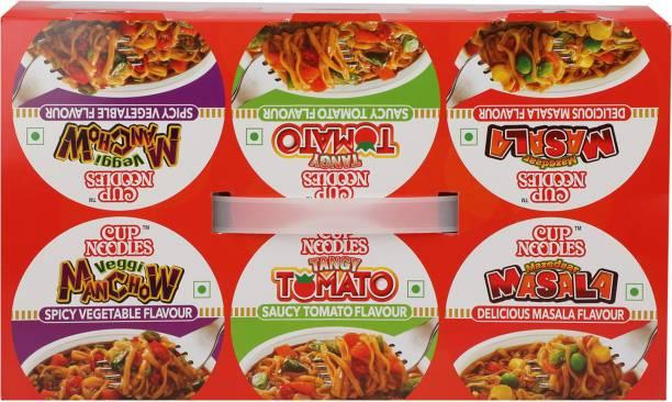 Nissin Tangy Tomato, Mazedaar Masala, Veggi Manchow - Combo Cup Noodles Vegetarian