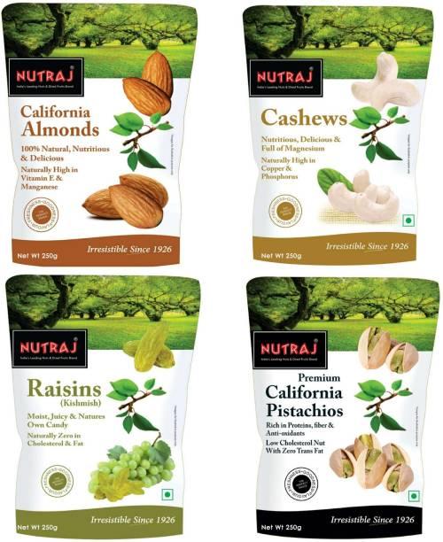Nutraj Daily Needs Combo 250gm Each (Pack of 4) Pistachios, Cashews, Almonds, Raisins