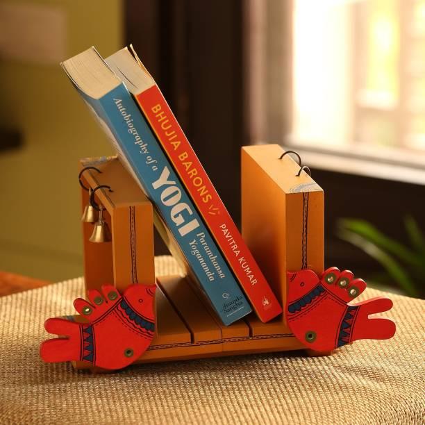 ExclusiveLane Chirping Birds Table Top Decorative Book Holder Organizer Cum Wooden End