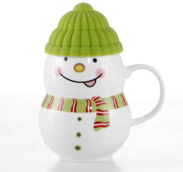 Satyam Kraft Ceramic Snow Man With Silicon Lid Cover(1 Piece) For Kids 300