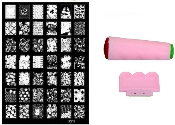 Royalkart Nail Art Stamping Jumbo Image Plate D.I.Y. With Double-Sided Stamper & Scraper(XY11)