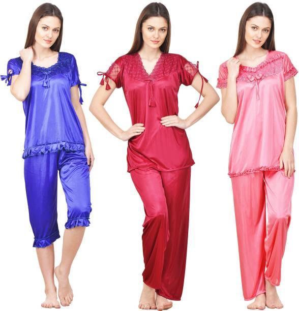 86920375d4 Rowena Women s Solid Multicolor Top   Pyjama Set