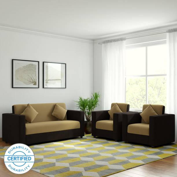 WESTIDO Emporio Fabric 3 + 1 + 1 Cream & Brown Sofa Set