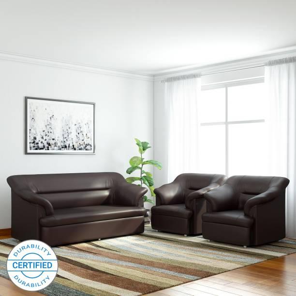 Bharat Lifestyle Sagittarius Leatherette 3 + 1 + 1 Brown Sofa Set
