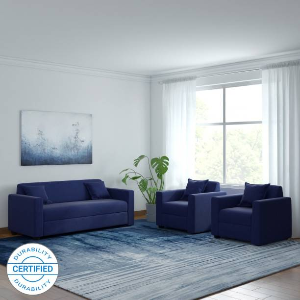 WESTIDO Lowkey Beige Fabric 3 + 1 + 1 Navy Blue Sofa Set