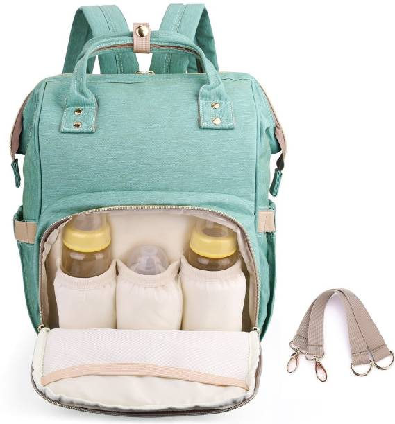 HOUSE OF QUIRK Diaper Backpack for Mommy Water Resistant Nappy Bag with Stroller Hooks Rucksack Lightweight/Large Capacity/Durable - Green Diaper Bagpack