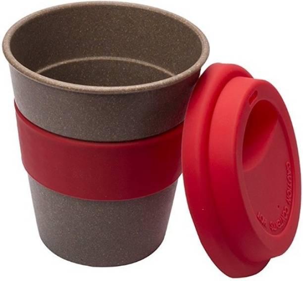 Smartcraft Coffee Bamboo Cup 350Ml Red, Bamboo Coffee Cup with Silicone Lid, Eco-friendly, BPA free coffee cup - 350ml Wood Coffee Mug