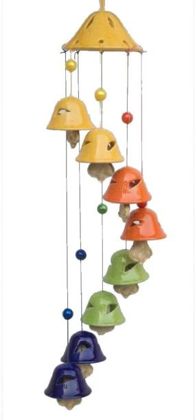 SS Mart Multi color Wind Chime With 8 Bells Ceramic Windchime