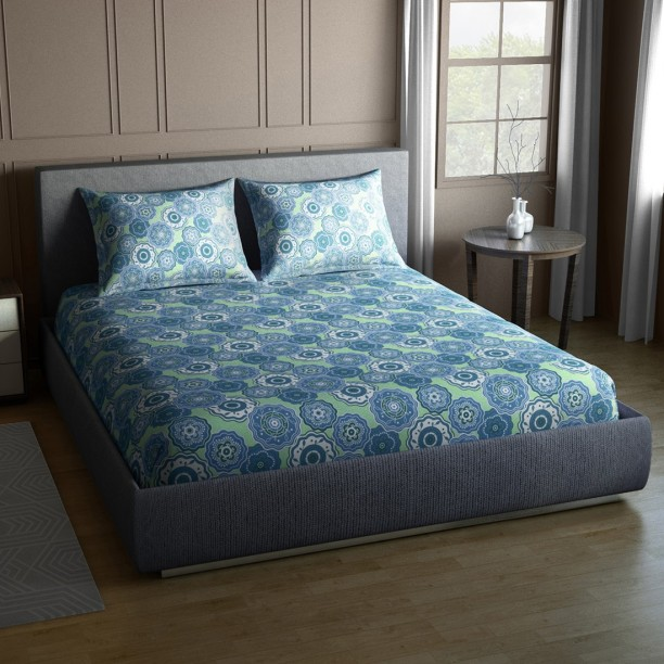 CORE Designed By SPACES 104 TC Cotton Double Floral Bedsheet