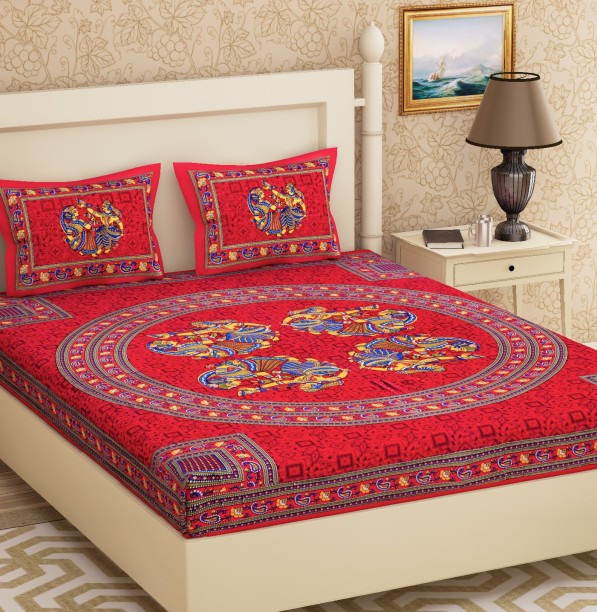 Delightful Metro Living 104 TC Cotton Double Self Design Bedsheet