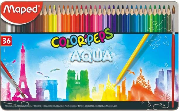 Maped Color'Peps Aqua - Water Color Pencils Metal Box 36 Colors Triangular Shaped Color Pencils