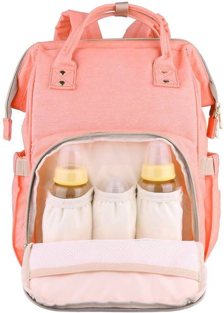HOUSE OF QUIRK Diaper Backpack for Mommy Water Resistant Nappy Bag with Stroller Hooks Rucksack Lightweight/Large Capacity/Durable - Pink Diaper Bagpack