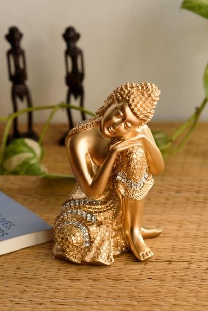 eCraftIndia Golden Buddha on Knee Polyresin Showpiece Decorative Showpiece  -  20 cm