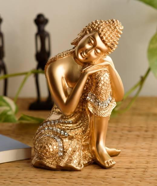 eCraftIndia Golden Buddha On Knee Decorative Showpiece  -  20 cm