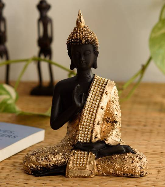 eCraftIndia Handcrafted Meditating Blessing Buddha Decorative Showpiece  -  21 cm