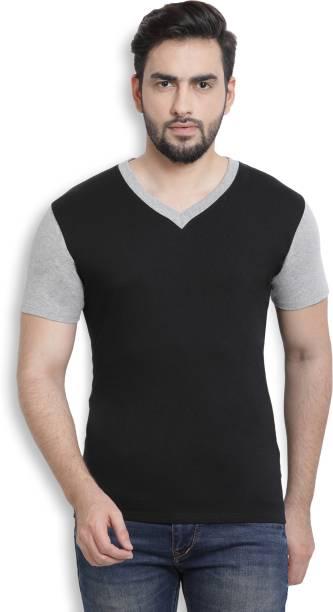 Billion PerfectFit Solid Men V Neck Black, Grey T Shirt