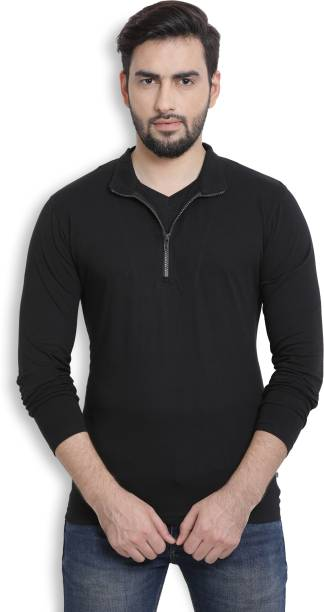 Billion PerfectFit Solid Men Mock Neck Black T-Shirt