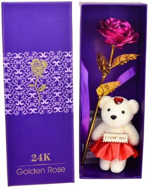 Skylofts 24k Gold Red Rose With I Love You Teddy Bear Doll Gift Box And