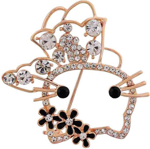 5a626afde18 Maayra Party wear Saree pin Kitten Flowers Crystal Studded Brooch