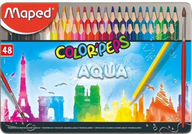 Maped Color'Peps Aqua - Water Color Pencils Metal Box 48 Colors Triangular Shaped Color Pencils