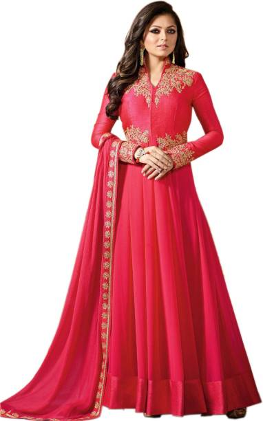 14b5db61d5bc Ap Enterprise Georgette Embroidered Semi-stitched Gown   Salwar Material