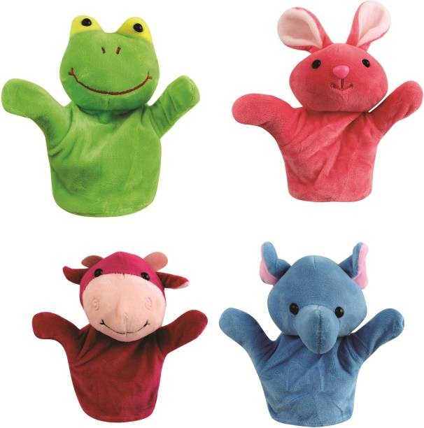 Skylofts 20cm Rabbit, Frog, Cow, Monkey Animal Hand Puppets for Kids, Multi Color (Pack of 4 Random Designs) Hand Puppets