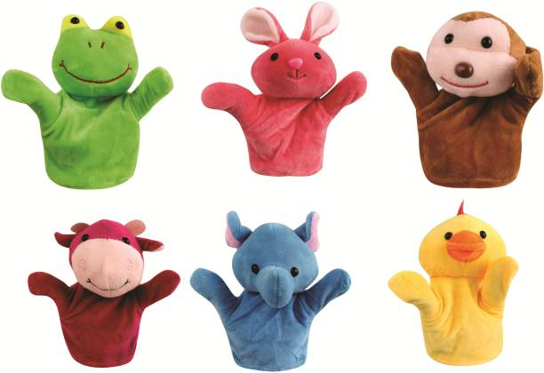 Skylofts 20cm Rabbit, Frog, Cow, Monkey, Duck & Elephant Animal Hand Puppets for Boys & Girls, Multi Color (Pack of 6 Designs) Hand Puppets