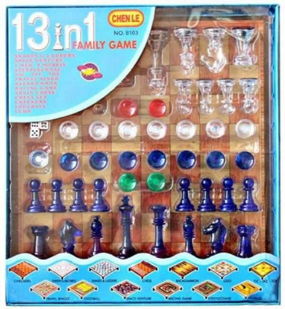 JAYNIL ENTERPRISE 13 In 1 Family Game Including Magnetic Chess, Checkers, Men's Morris, Snake's & Ladder, Steeplechase, Travel Bingo, Football, Backgammon, Ludo, Tic-Tac-Toe, Racing Game & Space-Venture, Multi Board Game Toy for Kids Board Game Strategy & War Games Board Game