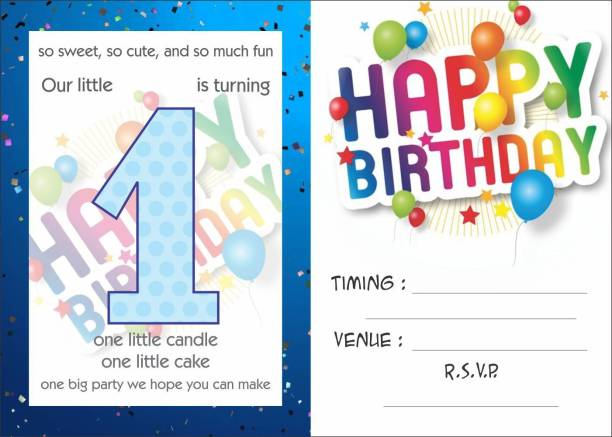 Askprints Birthday Metallic Card Invitations With Envelopes