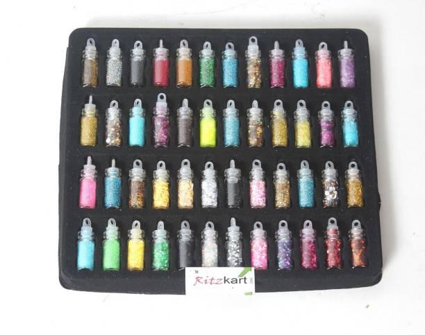 Ritzkart 48pcs Nail Art Glitter Kit Nails Manicure Design Painting , Dotting Detailing Tool