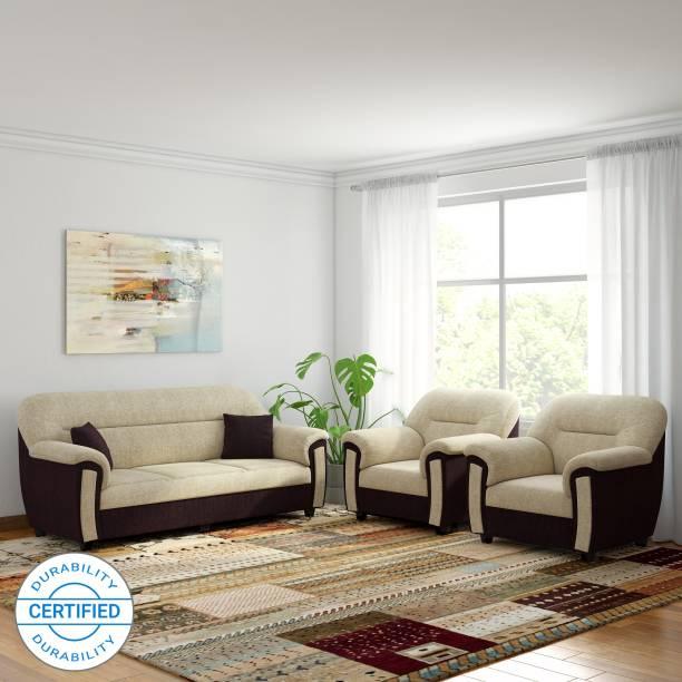 Bharat Lifestyle New Sagittarius Fabric 3 + 1 + 1 Cream Brown Sofa Set