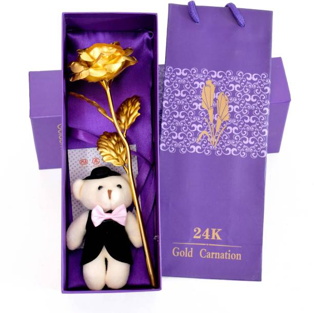 Skylofts Golden Rose With Groom Boy Teddy Bear Gift Box And Carry Bag