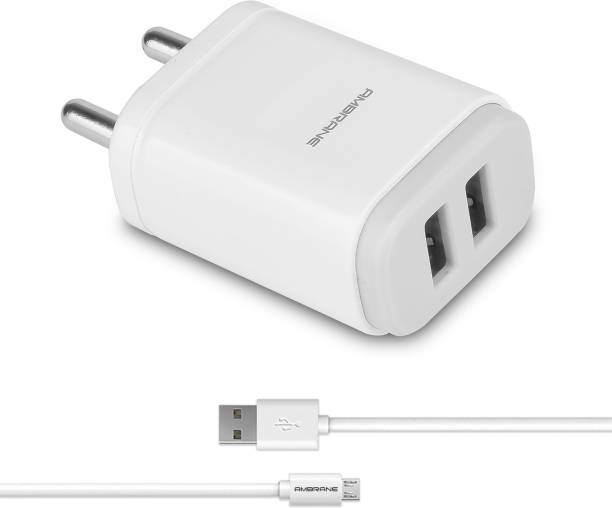 Ambrane AWC-22 2.1A Dual Port Fast Charger with Charge & Sync USB Cable