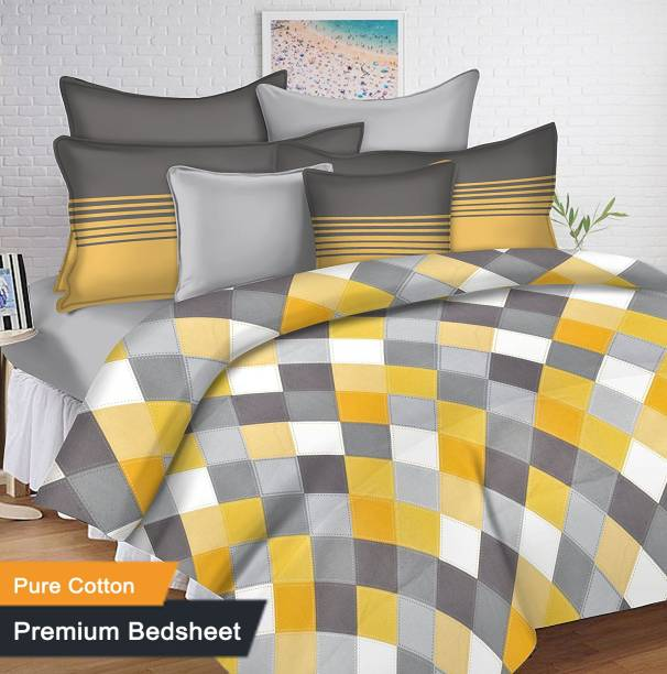 Ahmedabad Cotton 144 Tc Double Checkered Bedsheet