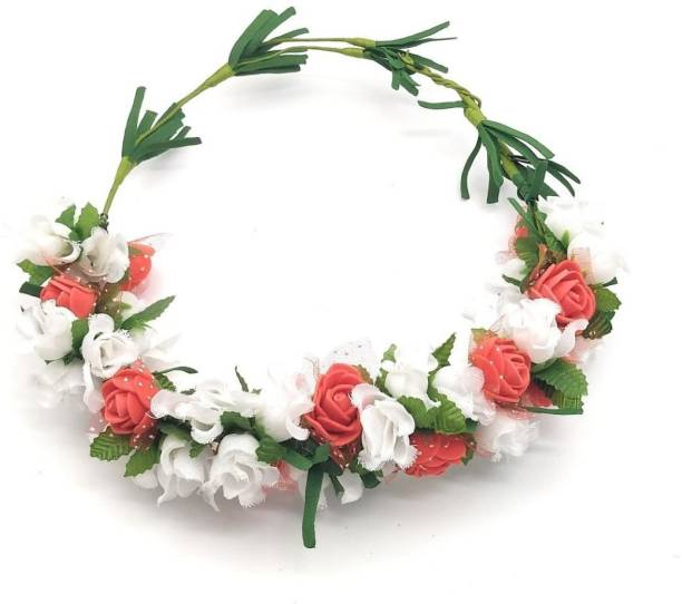 Flower crown buy flower crown online at best prices in india satyam kraft adjustable wooden stick floral tiara of white flower and red green pollen for mightylinksfo