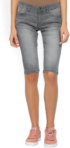 56d1b22c54c Jealous Solid Women Grey Denim Shorts