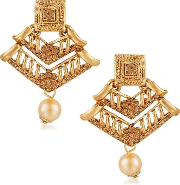 d4dc9a2c6 Meenaz Traditional Pearl Jewellery Gold Jhumki Party Wear Stylish Jhumka  Earrings For women Girls Necklace Jewellery