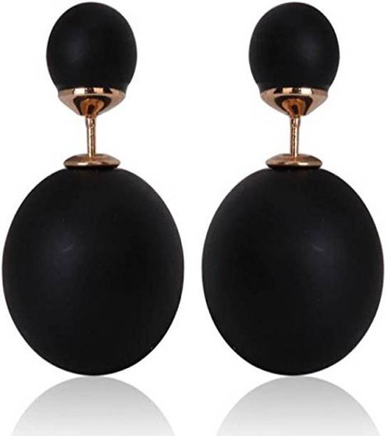 3b669e8ee Nice Nature Black Pearl Stud Earrings Jewellery For Women/Girls Pearl Metal  Stud Earring
