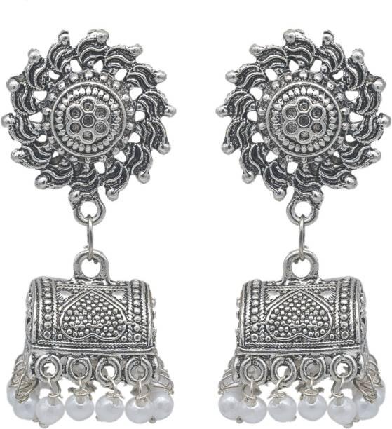 9fb85f6a70 KIYARA Kiyara Accessories Fashion jewellery Silver Antique oxidize alloy  jhumki with white pearls for women and